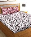 Cotton Red & White Printed Double Bed Sheet