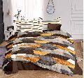 Cotton Yellow Abstract Double Bed Sheet