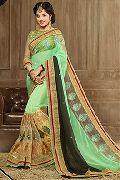Green & Golden Party Wear Sarees