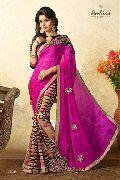 Pink Casual Wear Chiffon Sarees