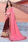 Pink & Brown Party Wear Sarees