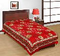 Red Floral Print Single Bed Sheet