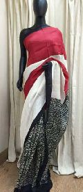 Pure Silk Saree with hand block prints