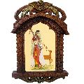 Lady Playing Sitar Painting Wid Deer Ethnic Wooden Jharokha