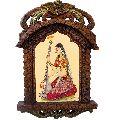 Rajasthani Lady Playing Sitar Wooden Jharokha Gift 438