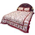 Royal Red Barmeri Pure Cotton Double Bed Sheet Set 359