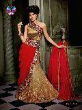 Bollywood style Beige Red Net Gown Lehenga Choli