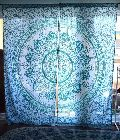 Blue New Ombre Print Indian Mandala Home Decorative Window Curtain