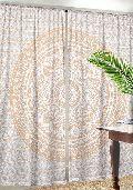 Golden Ombre Print Indian Mandala Window Curtain