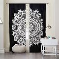 Indian Mandala Black Ombre Print Home Decorative Window Curtain