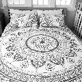 Indian Mandala White Ombre Duvet Cover Floral Cotton Duvet Cover