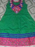 Ladies Green Embroidered Cotton Kurti