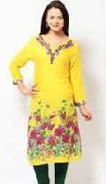 Ladies Yellow Embroidered Cotton Kurti