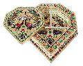 Diamond Shaped, Flower Designed Hand-made Meenakari Decorative Platter