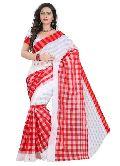 White Red Cotton Sarees