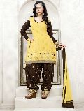 Yellow Embroidered Unstitched Patiyala Suit