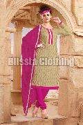 Beige & Pink Party Wear Embroidered Suit