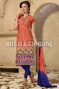 Orange Chanderi Embroidered Suit