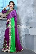 Half and Half Embroidered Saree