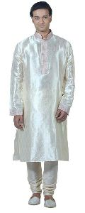 Cream Art Silk Kurta Pyjama