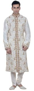 White Benarasi Silk Embroidered Kurta Pyjama