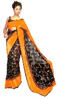 Black Fancy Net  with Orange Velvet Border Saree