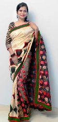 Light Muga Chandi with Black Net Saree