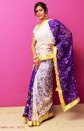 White and Purple Jany Net Saree