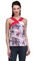 Women  Top Halter Neck Sleeve Less Floral print ladies tops