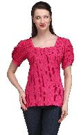 Women  Top puffed short sleeve lace  polka dot ladies tops