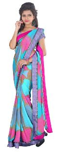 Blue Coloured Marble Chiffon Graphic Print Saree