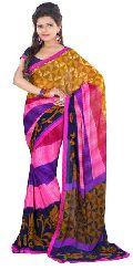 Magenta Coloured Georgette Floral Print Saree