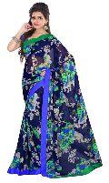 Designer Navy Blue  Georgette Floral Print Saree