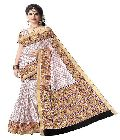 Kerala Cotton White Base Designer Saree