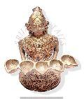 Dokra Lady Statue with 5 Diya