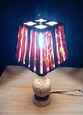 Wooden Small Square Slitz Table Lamp