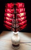 Wooden Square Pyramid Conc Table Lamp