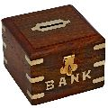 Wooden Square Shaped Money Box