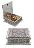 White Metal Dry Fruit Box With 4 Partition  HP-WM-518