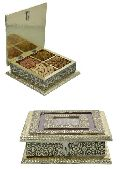 White Metal Dry Fruit Box With 4 Partition Golden