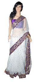 Net Saree White with Purple Velvet Border