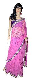 Net Saree with Velvet Dot and Border