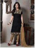 Black Cotton Embroidery Designer Suit R-9