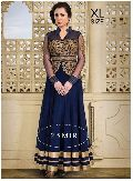 BLUE SOFT NET EMBROIDERY DESIGNER ANARKALI SUIT R-49