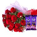 Chocolaty Treats Red Blooms roses