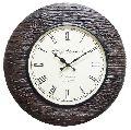Carved Brown Wood Wall Clock
