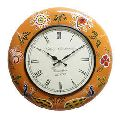 Orange Color Painted Wooden Wall Clock