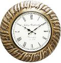 Round Wood Brass Fitted Wall Clock