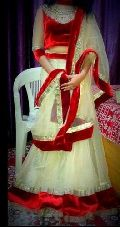 Simple Net Cream and Red Lehenga Choli