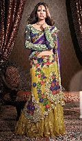Embroidered Yellow and Purple Lehenga Choli